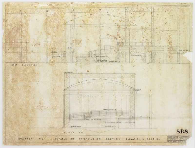 London, South Bank, Festival of Britain, Sea and Ships pavilion, propulsion section. Elevation and section.