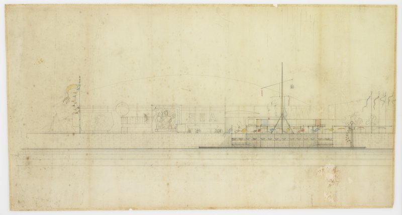 London, South Bank, Festival of Britain, Sea and Ships pavilion. Sketch of waterfront elevation.