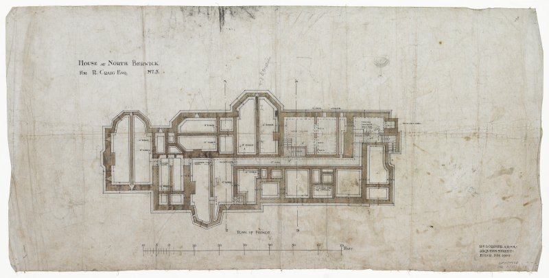 Digital image of drawing showing plan of founds, including wine cellar and heating chamber.