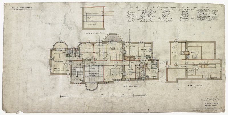 Digital image of drawing showing plan of first floor plan, attic plan and cistern plan.