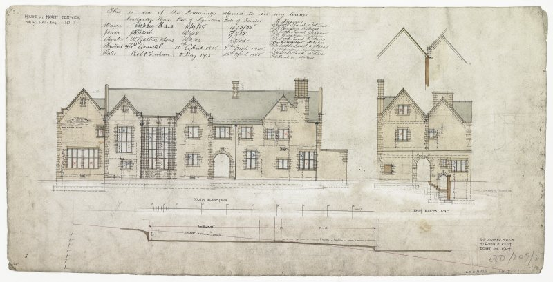 Digital image of drawing showing south elevation and east elevation.