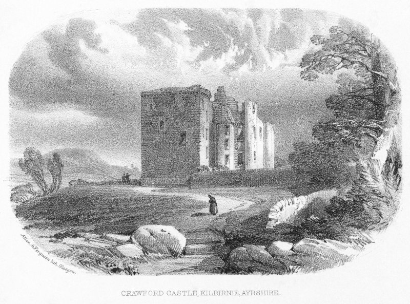 Digtal image of engraving, inscribed 'Crawford Castle, Kilbirnie, Ayrshire'.