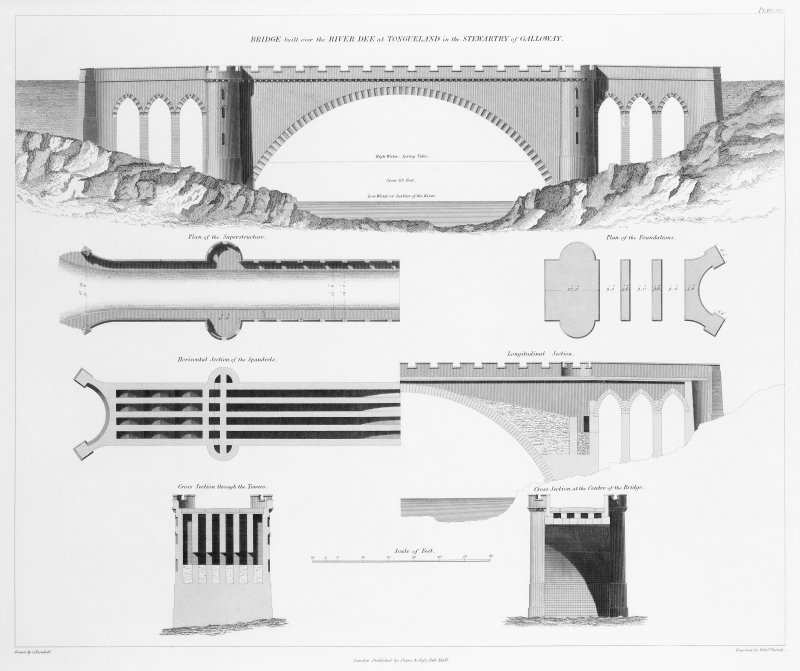 Engraving of elevation and plan inscr: ''Bridge built over the River Dee at Tongueland in the Stewarty of Galloway.