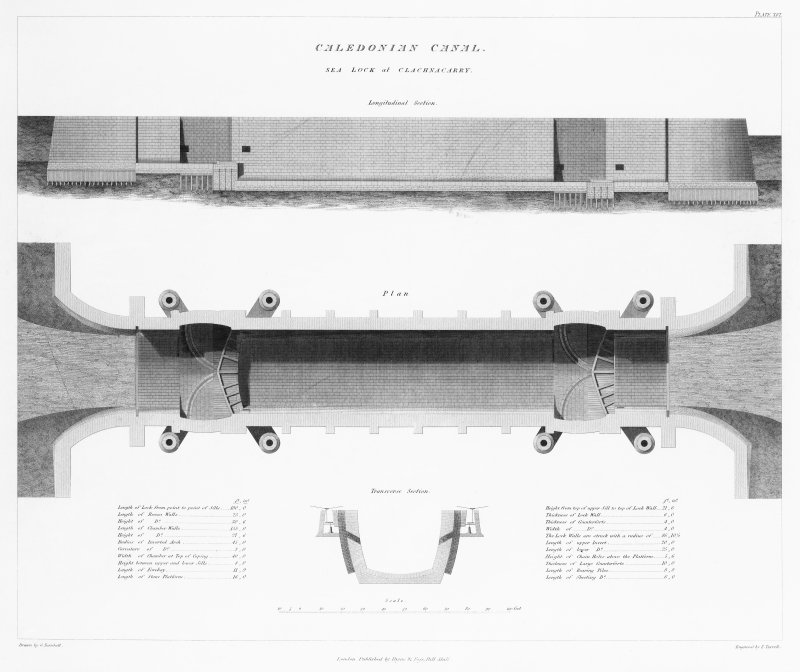 Engraving of elevation and plan inscr: ''Caledonian Canal, Sea Lock at Clachnacarry longitudinal section.''