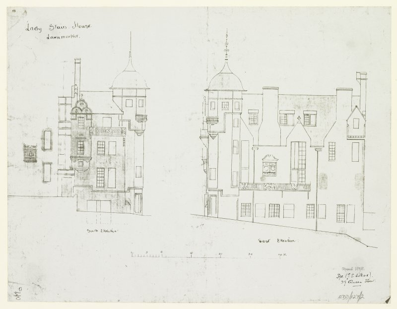 "South and East Elevations. Signed ""G S Aitken, 29 Queen Street"""