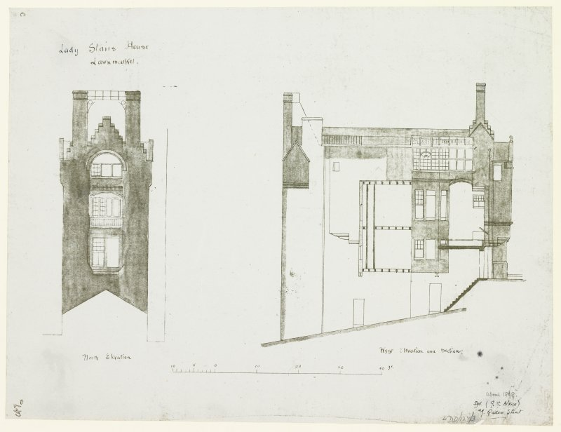 "North and West Elevations and Section Signed ""G S Aitken, 29 Queen Street"""