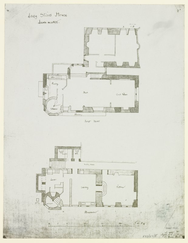 "First and Basement Floor Plans. Signed ""G S Aitken, 29 Queen Street""."