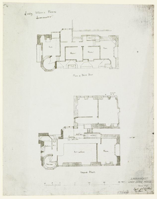 "Second and Third Floor Plans. Signed ""G S Aitken, 29 Queen Street""."