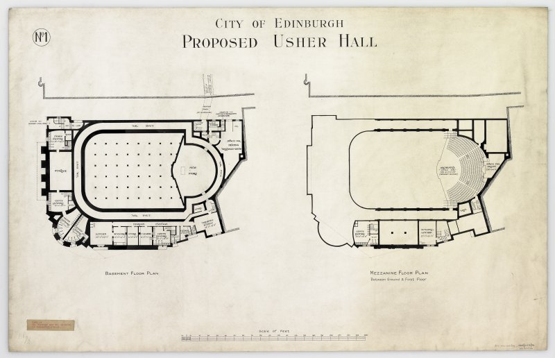 Basement floor plan and mezzanine floor plan. Titled: 'City Of Edinburgh Proposed Usher Hall'.   Insc: 'No.1'.  Label Insc: 'Lent By Mr. Mottram and Mr. Patrick   14 Frederick Street'.