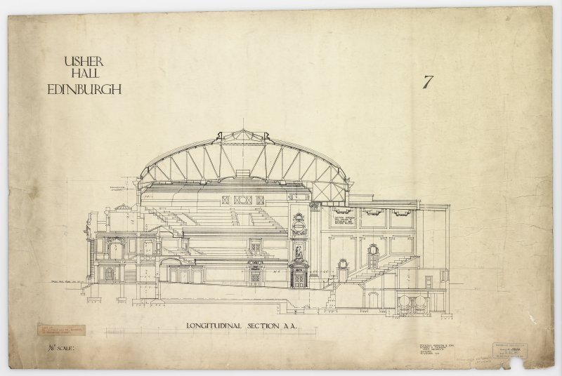 Longitudinal section AA of proposed building. Titled: 'Usher Hall, Edinburgh'.   Insc: 'Stockdale Harrison & Sons   Howard H Thomson   Joint Architects   Leicester   November 1910'.  Stamped: 'Edinburgh Corporation Electric Lighting   Drawing No.3254    Date 21 Dec 1911'. Label Insc: 'Lent By Mr. Mottram and Mr. Patrick   14 Frederick Street'.