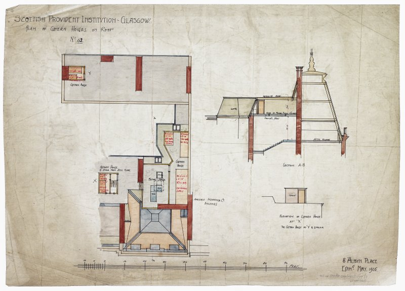 Plan, section and elevation of cistern houses on roof.