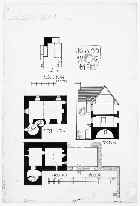 Floor plans, section and sketch of carved stone.