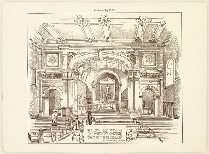 "Photo-lithograph showing Perspective view of new chancel by J Graham Fairley Taken from ""The Architect"", 4 August 1899"