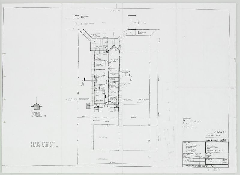 Working drawing of plan layout showing proposed M.O.D Police post at Main Gate with details of Fire safety points.