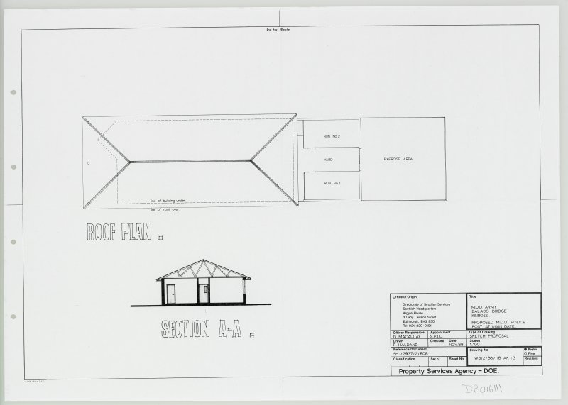 Roof plan and section of proposed M.O.D. Police Post at main gate.