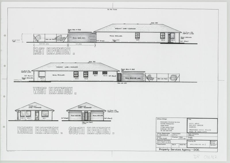 East, West, North and South elevations of proposed M.O.D. Police Post at main gate.
