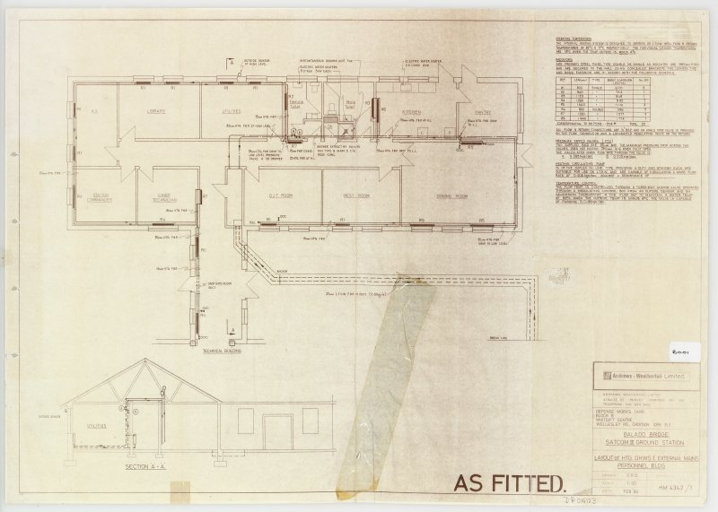 Layout and section of HTG DHWS and external mains in personnel building (Block B).