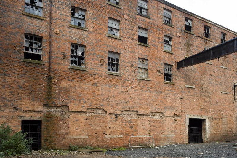 View of rear of West Street range (c.1855) of former smithy and boiler shop (ground) floor with pattern shop and pattern stores on floors above