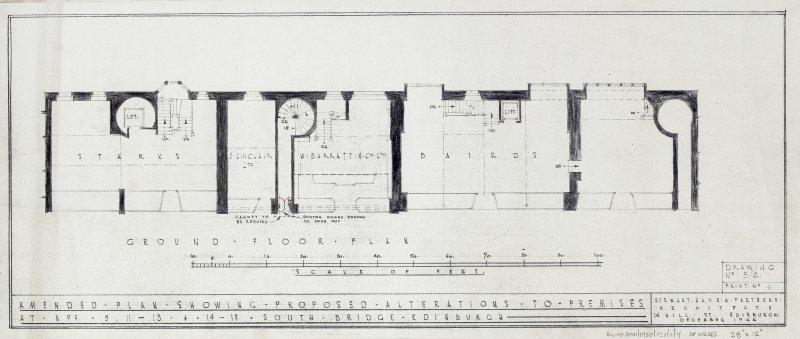 Plans, sections and elevations of additions and alterations to Nos 12 and 13. Plans of shop front and fittings for Messr Barret & Co. Ground floor plan.
