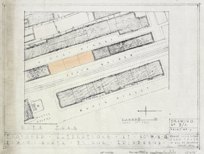 Plans, sections and elevations of additions and alterations to Nos 12 and 13. Plans of shop front and fittings for Messr Barret & Co. Site plan.