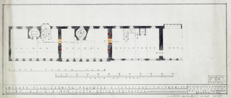 Plans, sections and elevations of additions and alterations to Nos 12 and 13. Plans of shop front and fittings for Messr Barret & Co. First floor plan.