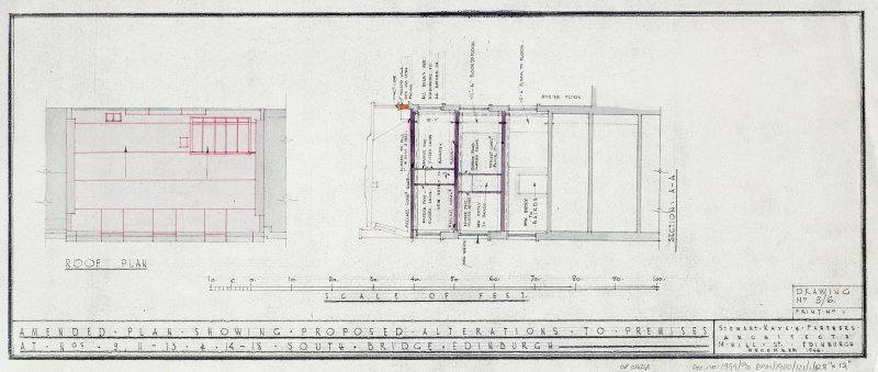 Plans, sections and elevations of additions and alterations to Nos 12 and 13. Plans of shop front and fittings for Messr Barret & Co. Roof plan.