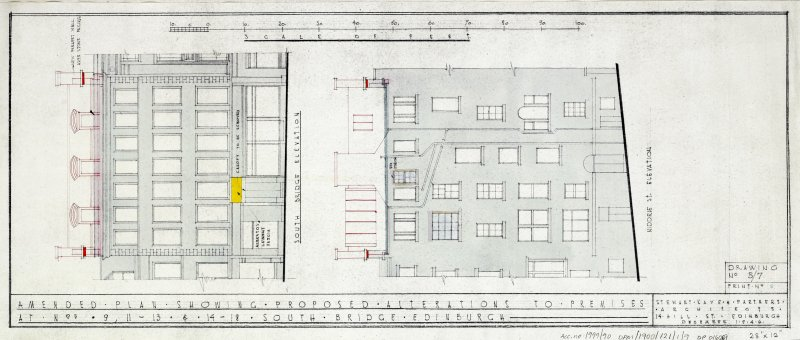 Plans, sections and elevations of additions and alterations to Nos 12 and 13. Plans of shop front and fittings for Messr Barret & Co. South Bridge and Niddrie Street Elevations.