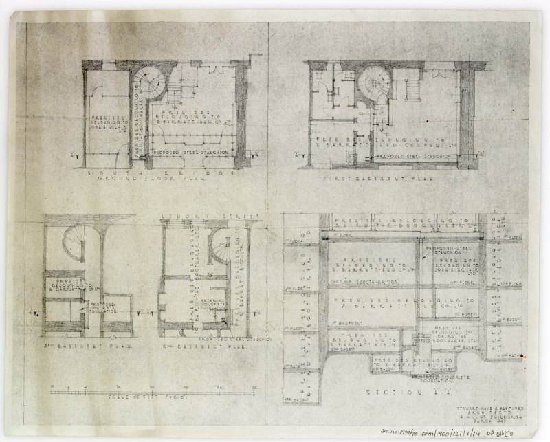 Plans, sections and elevations of additions and alterations to Nos 12 and 13. Plans of shop front and fittings for Messr Barret & Co. Basement plan, second basement plan, ground floor plan and section A-A.