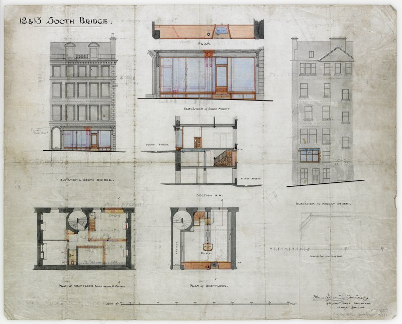 Plans, sections and elevations to Nos 12 and 13. Niddry Street and South Bridge Elevations, elevation of shop front, plan of shop floor and section A-A.