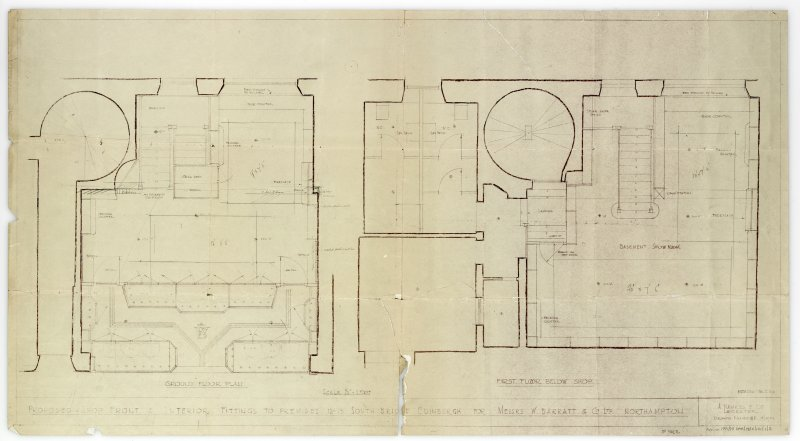 Plans, sections and elevations of additions and alterations to Nos 12 and 13. Plans of shop front and fittings for Messr Barret & Co. Roof plan.Plans, sections and elevations to Nos 12 and 13. Basement show room, first floor below shop, ground floor plan.