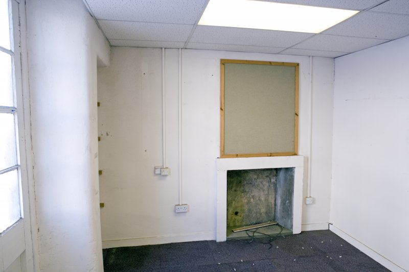 Interior. 2nd floor. N side  Room. Deatil oroginal fireplace.