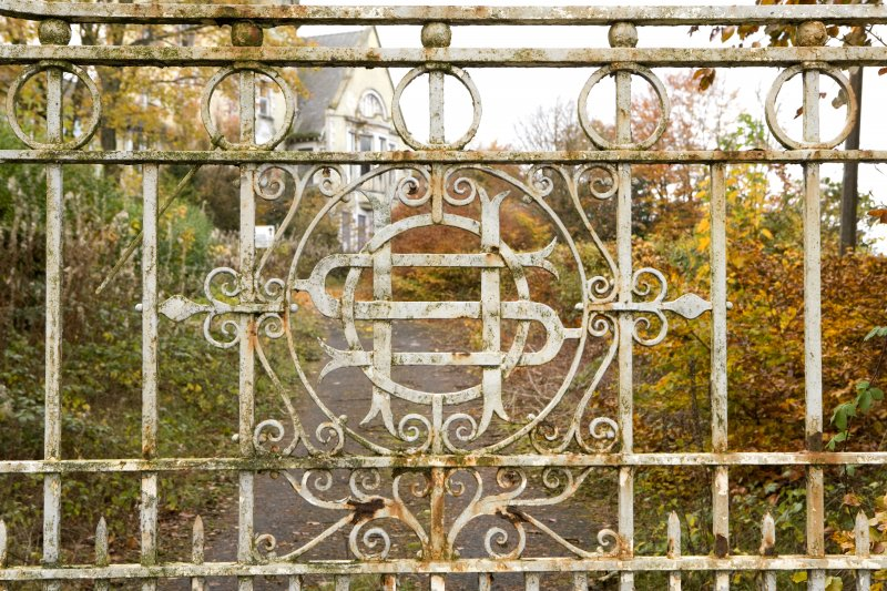Detail of gate with interlocking initials 'HS'