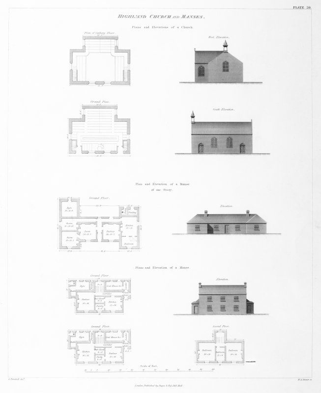 Engraving of elevation and plan inscr: ''Highland Churches and Manses.'' Includes plans, and elevations of church, one storey manse, and two storey manse.