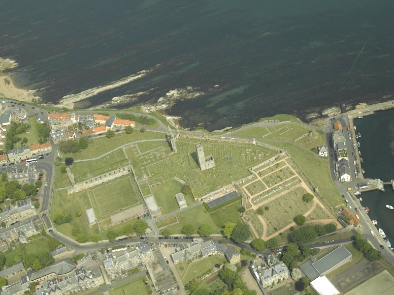 Oblique aerial view centred on the remains of the cathedral with the school adjacent, taken from the SW.