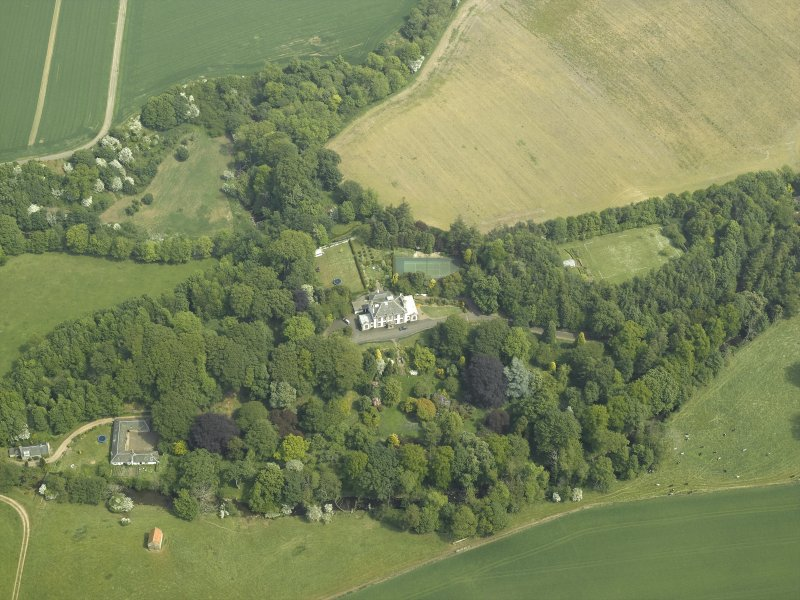 General oblique aerial view centred on the country house and walled garden with the dovecot adjacent, taken from the W.