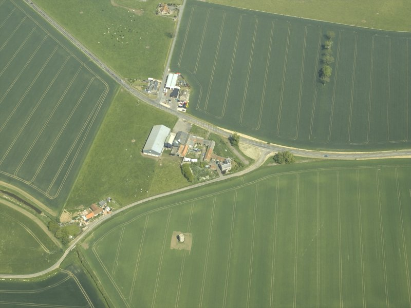 Oblique aerial view centred on the dovecot, taken from the WSW.