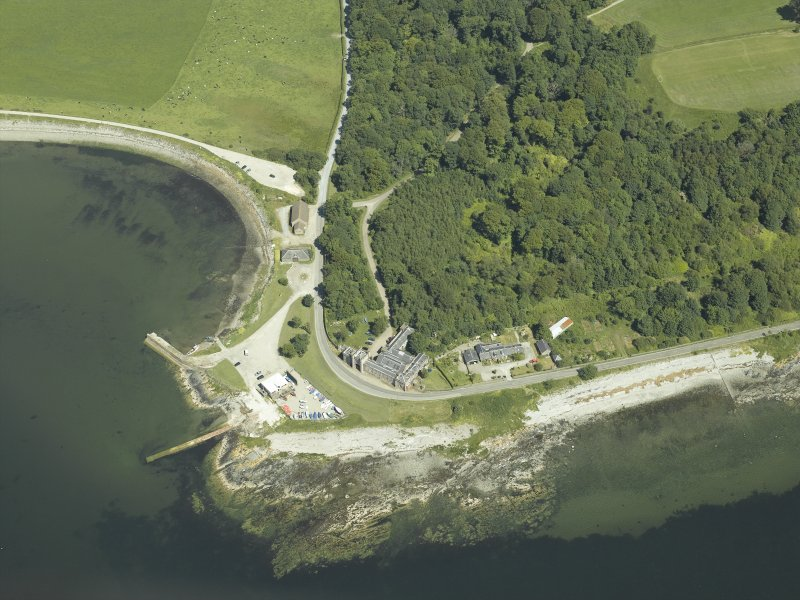 Oblique aerial view centred on the lodge, taken from the S.