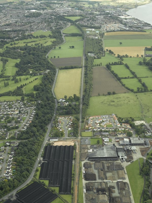 Oblique aerial view.  Stirling to Alloa railway, Cambus area, looking to Alloa from W