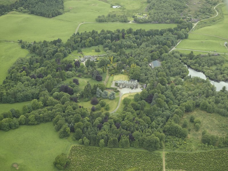 General oblique aerial view centred on the country house, walled garden and farmsteading, taken from the ENE.