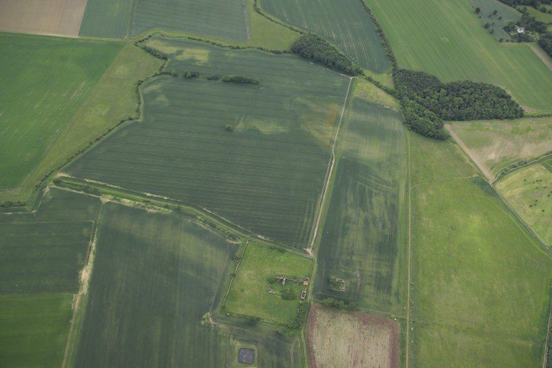 Oblique aerial view centred on the cropmarks of the rig and field boundaries with the remains of the tower-house, cottage and dovecot adjacent, taken from the NNW.