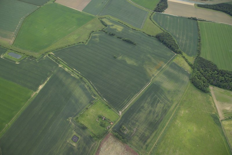 Oblique aerial view centred on the cropmarks of the rig and field boundaries with the remains of the tower-house, cottage and dovecot adjacent, taken from the NW.