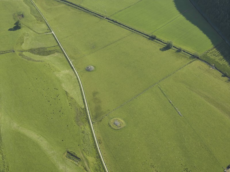 Oblique aerial view centred on the remains of the cairns, taken from the SW.