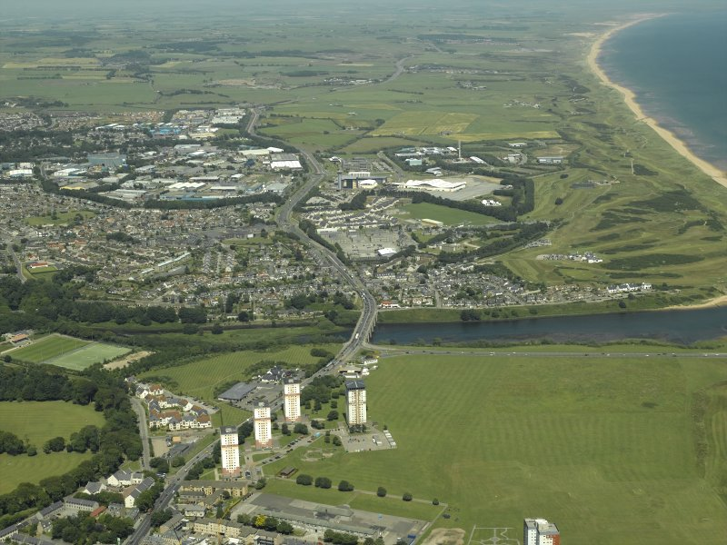 Aberdeen.  General oblique aerial view centred on the road bridge and housing estate with the barracks in the distance, taken from the S.