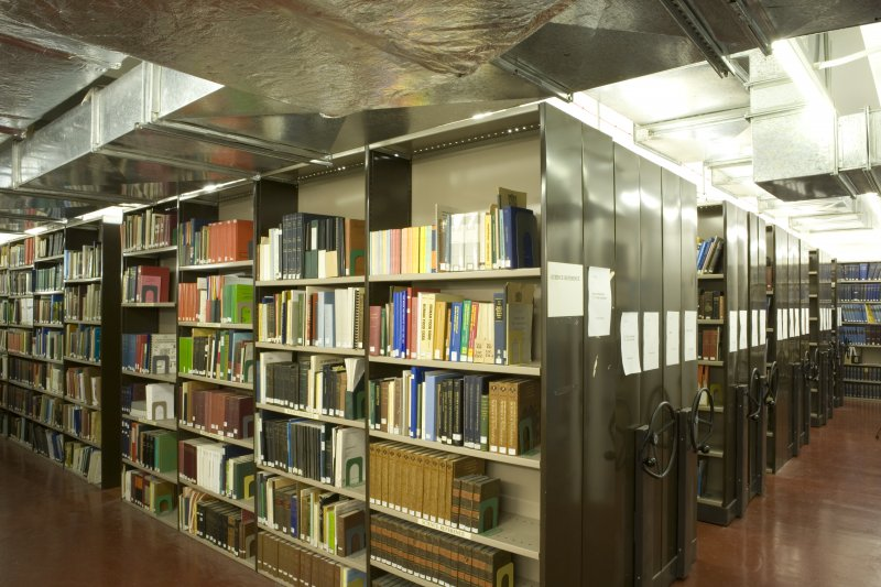 Interior. Basement, science library.