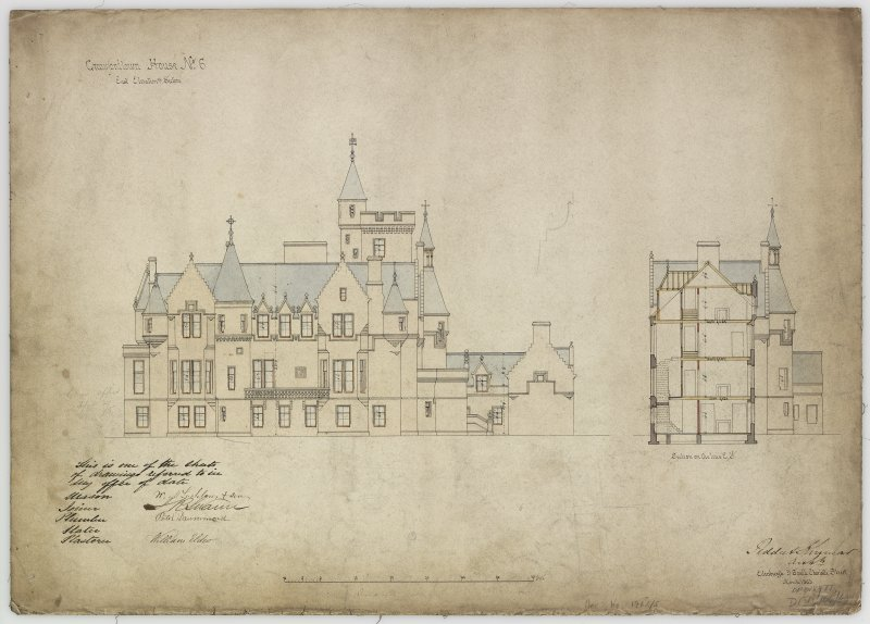 E elevation and section.