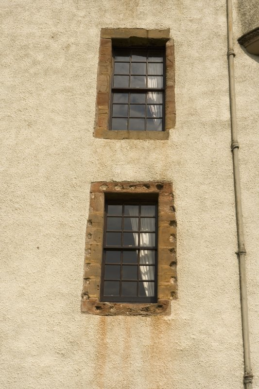 Detail of 1st and 2nd floor windows at E end of S facade