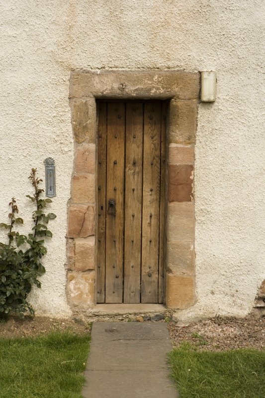 View of ground floor doorway at E end of S facade. Ballencrieff House.