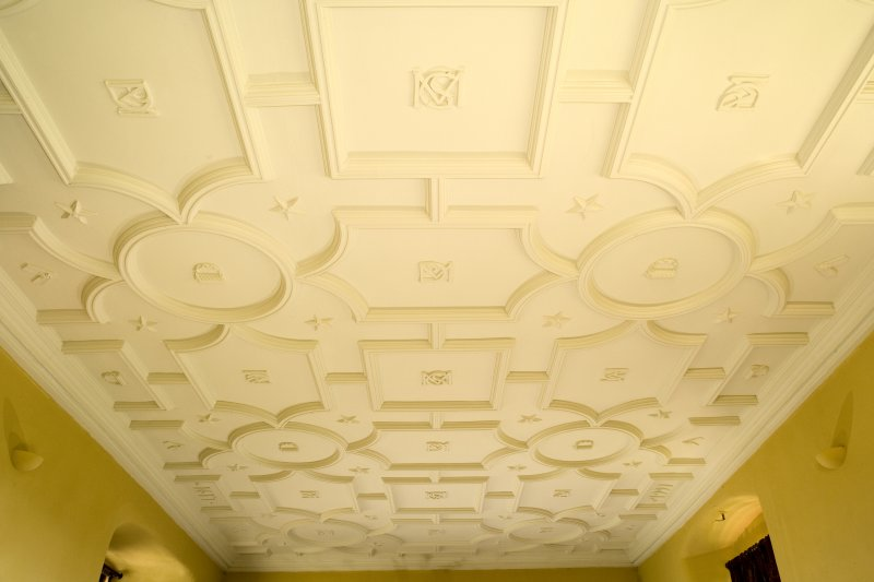 Interior. 1st floor, drawing room, view of ceiling from W end