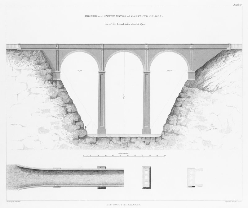 Engraving of elevation and plan inscr: ''Bridge over Mouse Water at Cartland Craigs, one of the Lanarkshire Road Bridges.''