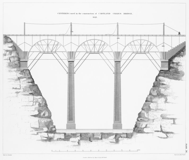 Engraving of elevation and plan inscr: ''Centering used in the construction of Cartland Craigs Bridge, 1821.''